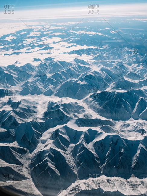 Picturesque view of snowy mountains