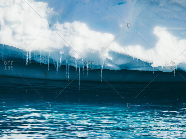 Icicles on bottom of glacier