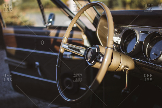 Close-up of a car steering wheel