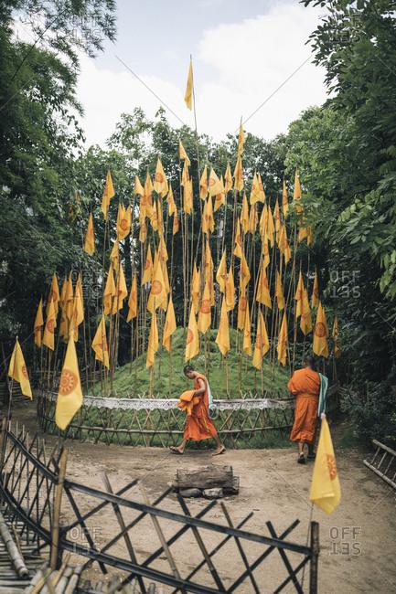 Chiang Mai, Thailand - May 19, 2017: Novice monks at Wat Phantao in the Old Town of Chiang Mai, Thailand