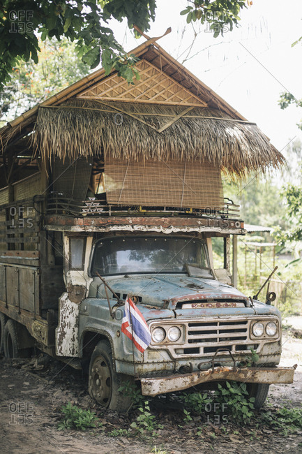 Chiang Mai, Thailand - May 20, 2017: Old broken down truck converted into a bedroom at the Suan Sati Yoga Retreat in northern Thailand