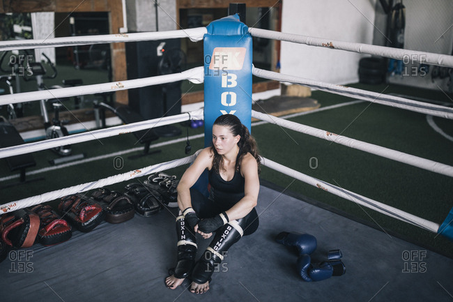 Chiang Mai, Thailand - May 19, 2017: Salome Harte, 25, rests after a sparring match at the Chiangmai Muay Thai Training Center in northern Thailand