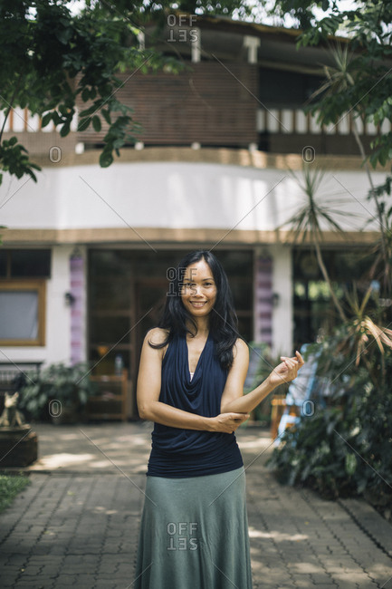 Chiang Mai, Thailand - May 20, 2017: Portrait of Areeradh, the founder of The Yoga Tree in Chiang Mai, Thailand