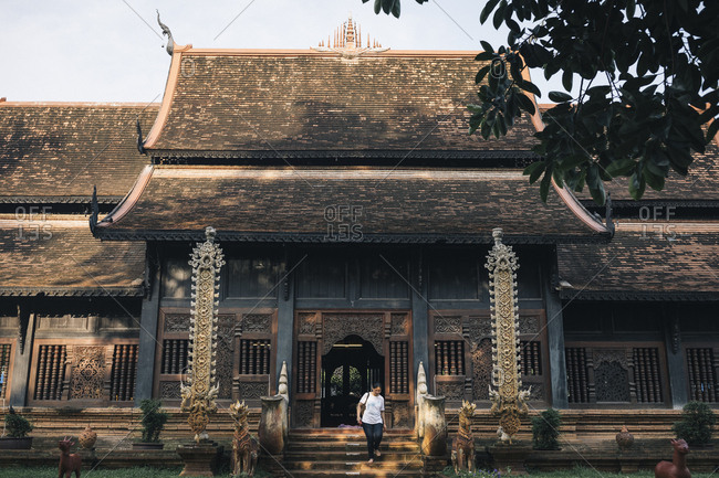 Chiang Mai, Thailand - May 20, 2017: Small temple outside of the Old Town of Chiang Mai, Thailand