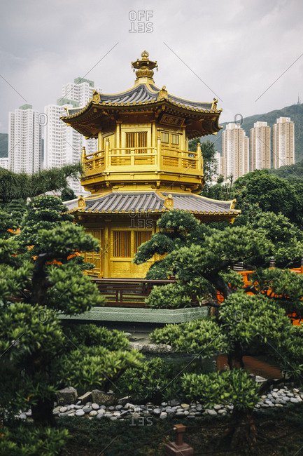 Hong Kong - September 6, 2017: Golden temple at the Chi Lin Nunnery and Nan Lian Gardens