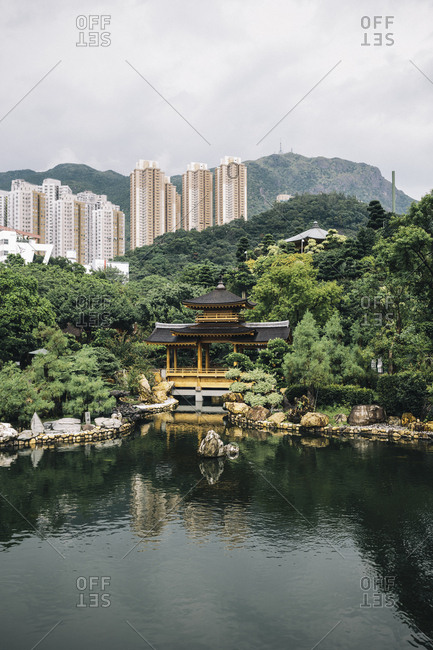 Hong Kong - September 6, 2017: Altar and lake at the Chi Lin Nunnery and Nan Lian Gardens