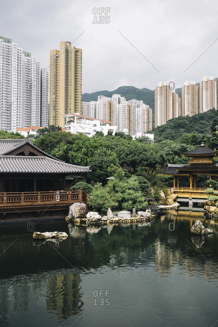 Hong Kong - September 6, 2017: Altar and building next to lake at the Chi Lin Nunnery and Nan Lian Gardens
