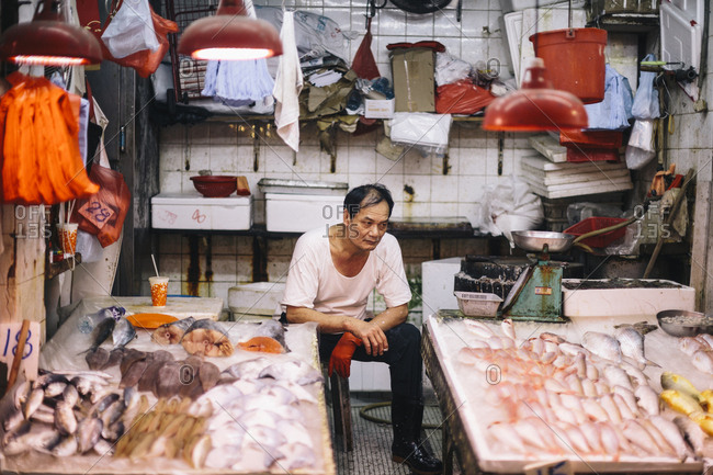 Hong Kong - September 8, 2017: Fishmonger at a market near Causeway Bay