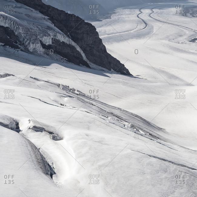 Aletsch glacier, view from Jungfraujoch, the highest railway station in the Alps, Bern, Berner Oberland, Interlaken, Switzerland