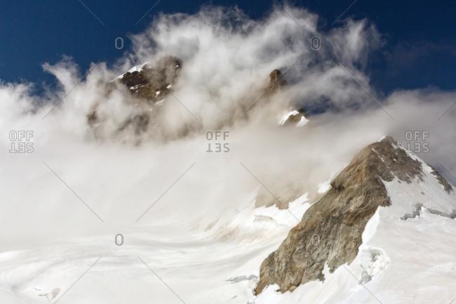 Aletsch glacier, view from Jungfraujoch, the highest railway station in the  Oberland, Interlaken, Switzerland