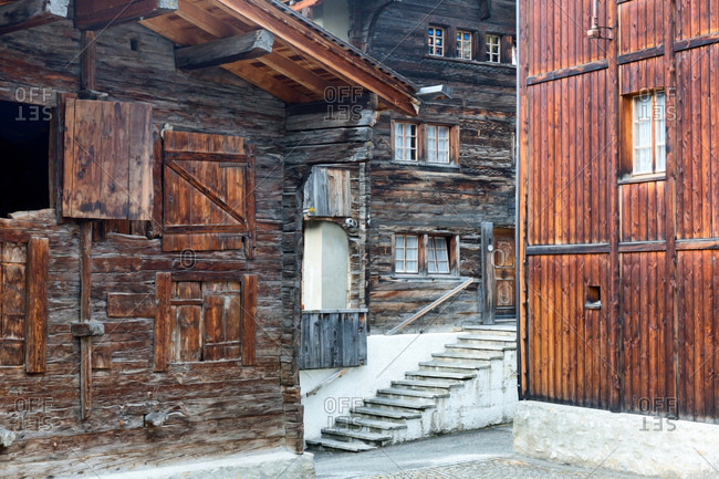 Typical wood houses in Rhone Valley, Munster-Geschinen, Rhone Valley, Vallese, Switzerland