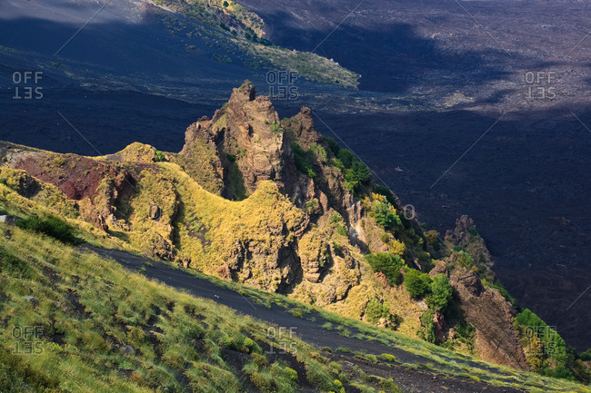Magmatic dykes covered with vegetation in the Valle del Bove, Nicolosi, Sicily, Italy