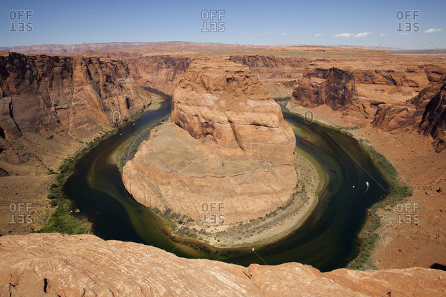 Boats below in horseshoe bend
