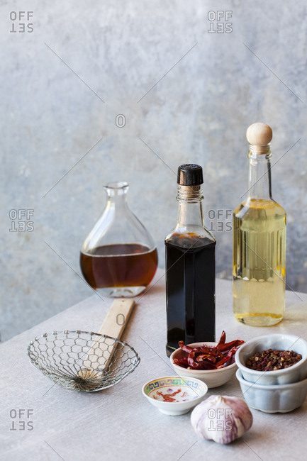 Ingredients for Asian cuisine, oils, sauce and spices