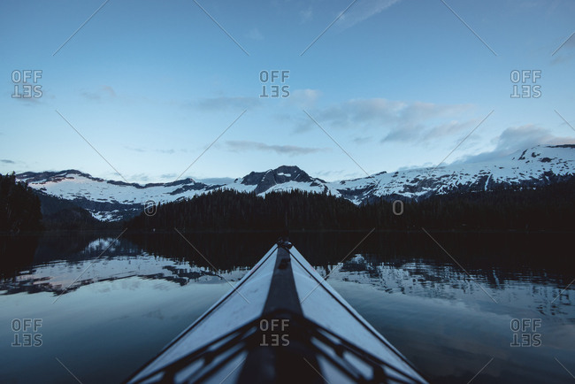 View from kayak of Phantom Lake before sunrise in British Columbia, Canada
