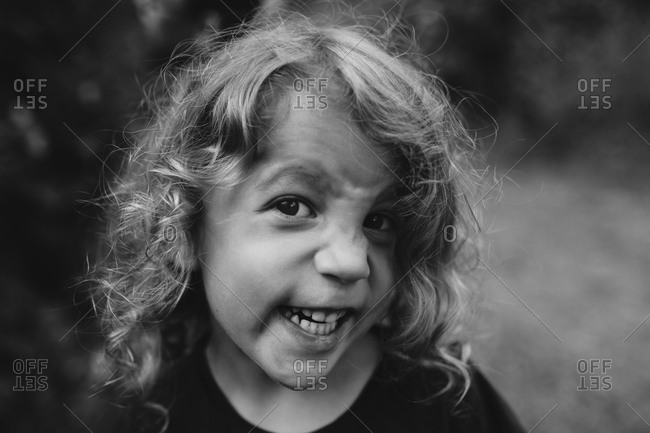 Child making a funny face