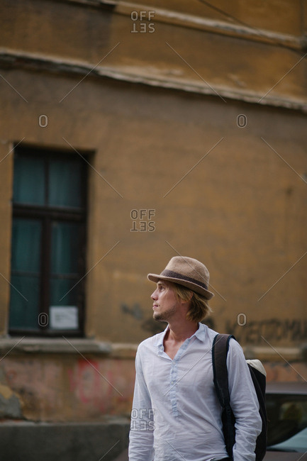 Backpacker walking in the city