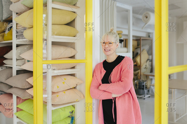 Woman working in shop