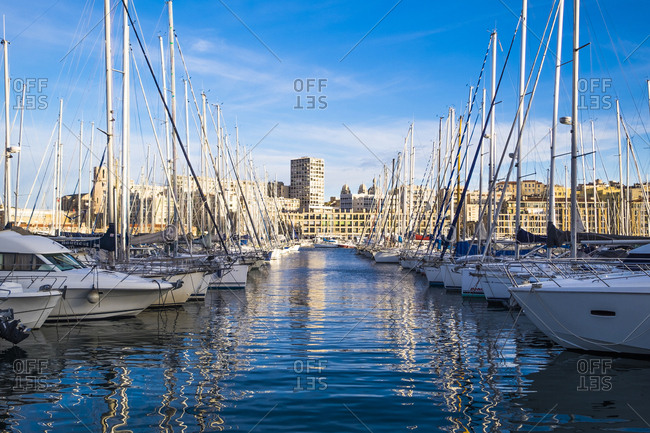 Marseille, France - March 6, 2017: Old port, Vieux Port