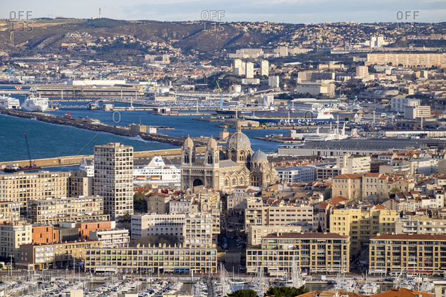 Marseille, France - March 6, 2017: Aerial view of city and port