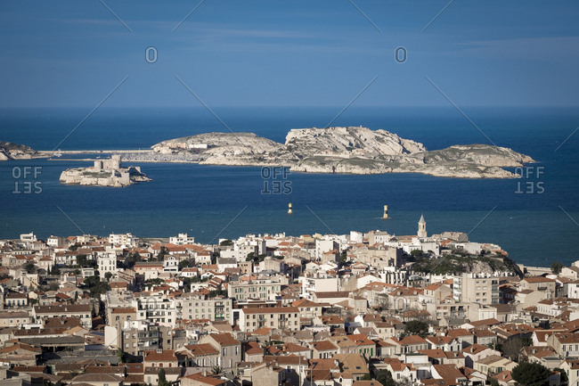 Aerial view of Marseille, France, from Notre-Dame de la Garde France