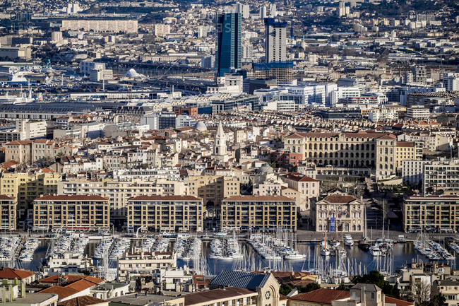 Marseille, France - March 6, 2017: Aerial view of city buildings