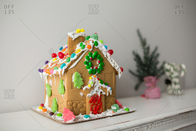 Side view of colorful gingerbread house