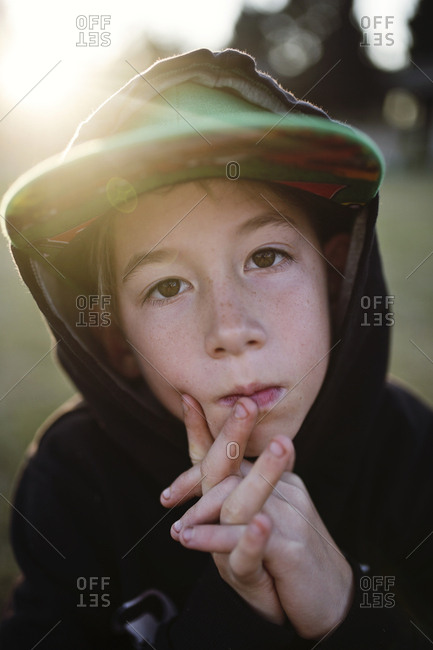 Portrait of child in hoodie