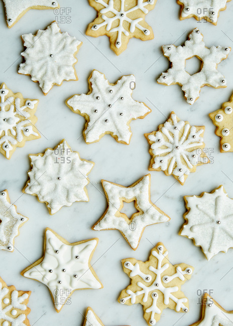 Fancy Winter Sugar Cookies Decorated With Royal Icing And Sprinkles