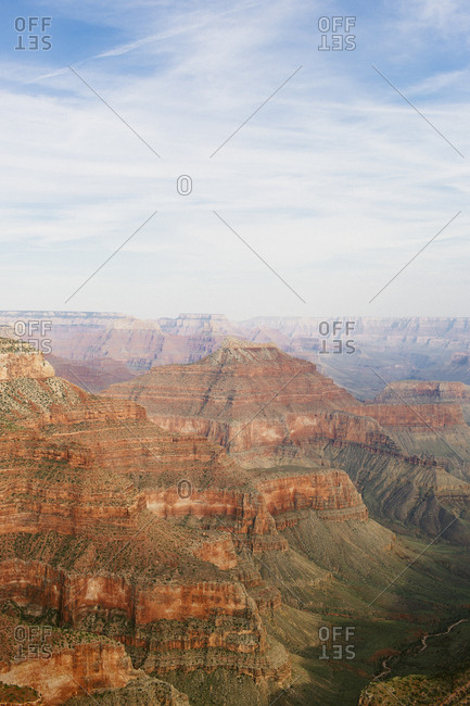 Vertical view of Grand Canyon National Park from helicopter ride