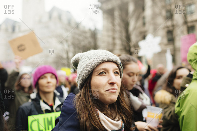 July 15, 2009: Portrait of woman marching during rally, Women's March Washington D.C.