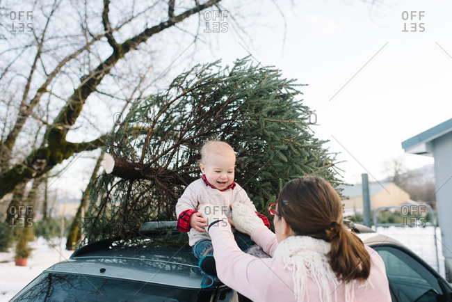 Mother lifts baby atop car with Christmas tree