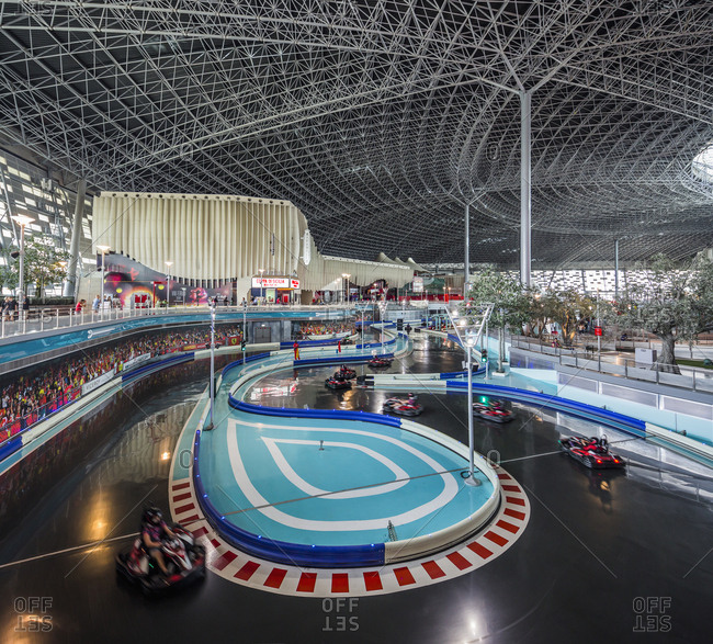 January 25, 2017: United Arab Emirates, Abu Dhabi . Yas Island, Ferrari World Abu Dhabi (theme park), the Karting Academy