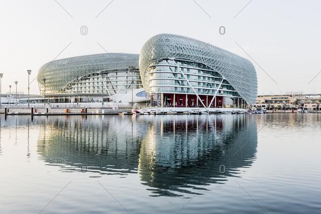 January 25, 2017: United Arab Emirates, Abu Dhabi . Yas Island, the Yas Marina, the Yas Viceroy Abu Dhabi Hotel (architect: Asymptote Architecture)