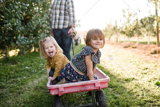 Two girls riding in a wagon through apple orchard