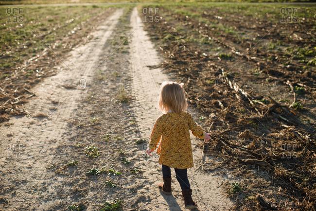 Little girl walking away on a dirt road