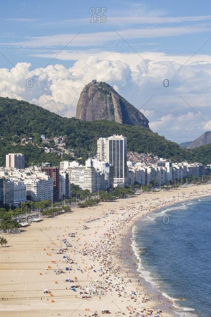 Rio de Janeiro, Brazil, South America - January 25, 2016: Elevated view of Copacabana beach