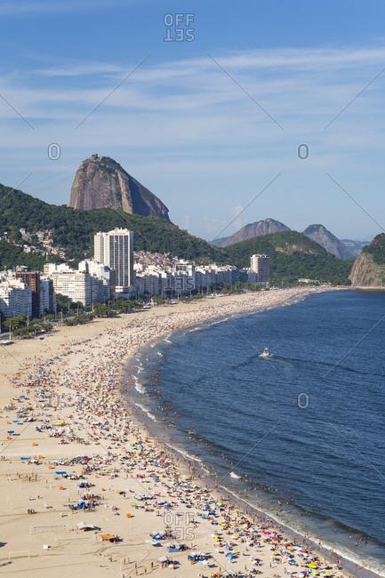 Rio de Janeiro, Brazil, South America - January 31, 2016: Copacabana beach and Sugar Loaf