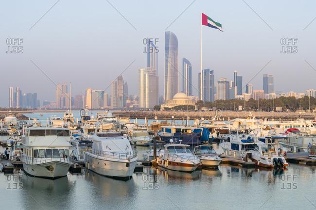 Abu Dhabi, United Arab Emirates, Middle East - February 8, 2017: Modern city skyline and Marina