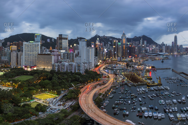 Hong Kong, China, Asia - February 1, 2017: Elevated view, Harbour and Central district of Hong Kong Island and Victoria Peak
