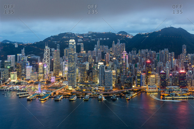 Hong Kong, China, Asia - February 8, 2017: Elevated view, Harbour and Central district of Hong Kong Island and Victoria Peak