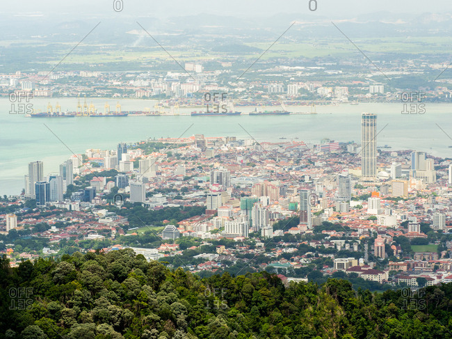 Penang Hill, Penang, Malaysia, Southeast Asia, Asia - August 15, 2016: Downtown George Town, with mainland Malaysia in the background
