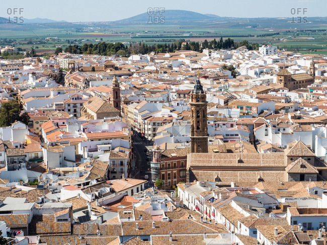 Antequera, Andalucia, Spain, Europe - April 12, 2017: View from the hilltop fortress