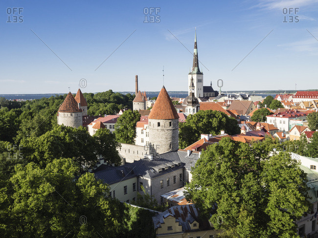Cityscape view from the Patkuli viewing platform, Old Town, UNESCO World Heritage Site, Tallinn, Estonia, Baltic States, Europe