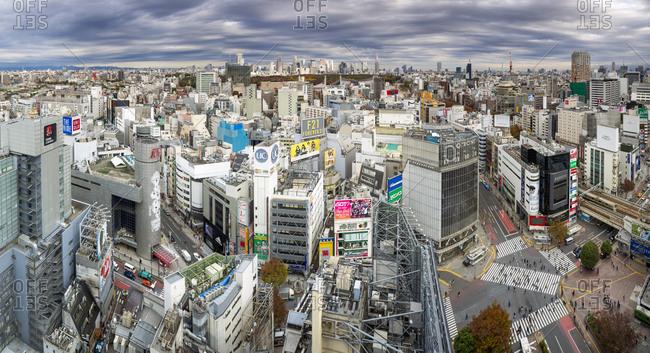 Elevated view over Shibuya Ward towards the Shinjuku skyline, Tokyo, Japan, Asia