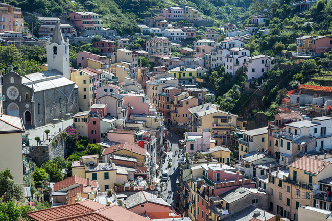The main street in Riomaggiore, Cinque Terre, UNESCO World Heritage Site, Liguria, Italy, Europe