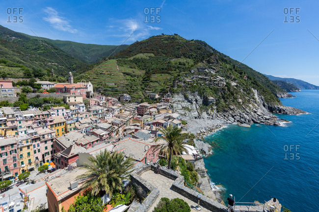 The view from the top of Doria Castle with breathtaking views over Vernazza and the Cinque Terre coast, UNESCO World Heritage Site, Liguria, Italy, Europe