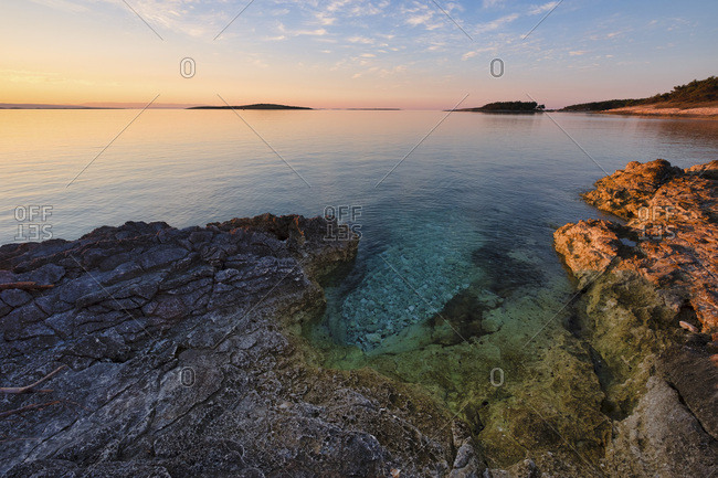 Sunrise over the Adriatic Sea, Kamenjak National Park, Istria, Croatia, Europe