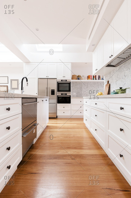 Cabinetry detail of a contemporary classic styled designer kitchen