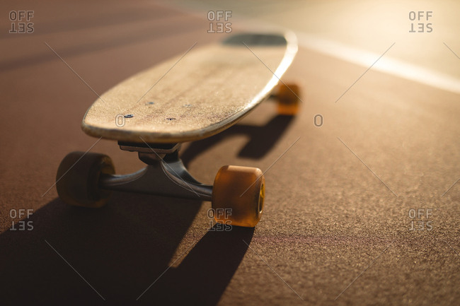 Close-up of skateboard in sports ground